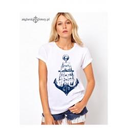 Koszulka damska biała KOTWICA - ŻAGLOWIEC