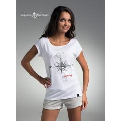 Koszulka damska biała Róża Wiatrów