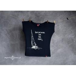 Koszulka damska granatowa Życie jest proste - Żegluj!
