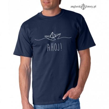 Koszulka męska granatowa AHOJ!
