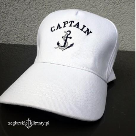 Czapka z daszkiem CAPTAIN biała (haft)