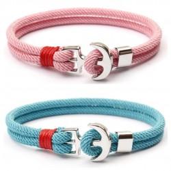 Bransoletka sznur na bloczku - kotwicy - 2 kolory