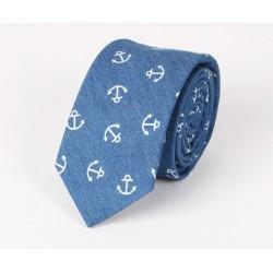 Bawełniany krawat w kotwiczki - jeans :-)