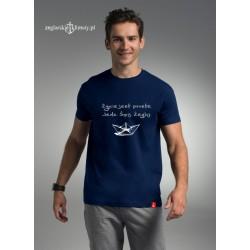 Koszulka męska premium strech Żegluj - napis 3D