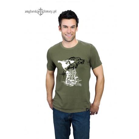 Koszulka uniseks premium khaki SEA WOLF