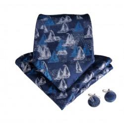 Komplet JACHTY G - krawat + spinki + chustka do butonierki :-)