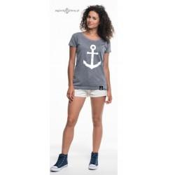 Koszulka damska premium (pieprz) KOTWICA szkic