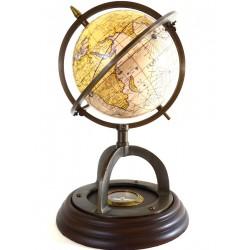 Globus historyczny z mapą z XIXw. i kompasem
