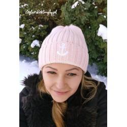 Czapka zimowa pink - haft kotwiczka + futrzany pompon