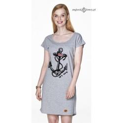 Sukienka letnia jasna szara kotwica FREEDOM
