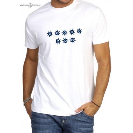 Koszulka męska biała premium 8 kół sterowych