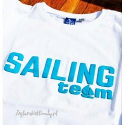 Koszulka męska premium strech biała SAILING TEAM (3D)