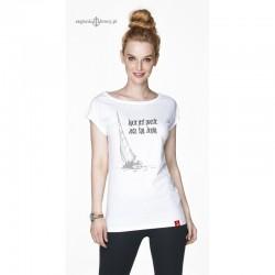 Koszulka damska biała Życie jest proste. Jedz. Śpij. Żegluj.