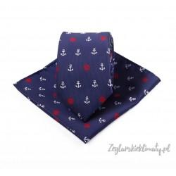 Krawat + poszetka w kotwiczki i małe koła sterowe