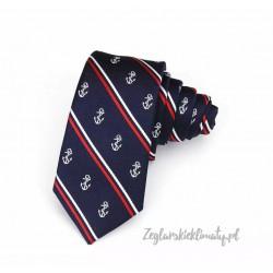 Krawat w kotwice i paski
