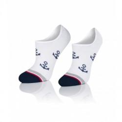 Mikro stopki damskie białe w kotwiczki :-)